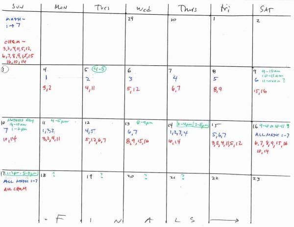 finals prep calendar